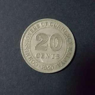 C34 1960喬冶六世英属馬耒亞婆罗州20分