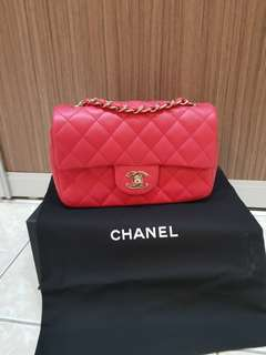 Brand New Chanel Mini 8 inch rectangular shw Lamskin