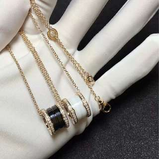 BVLGARI 18k玫瑰金陶瓷鑽石套鍊