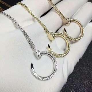 Cartier 18k滿鑽石釘套鍊
