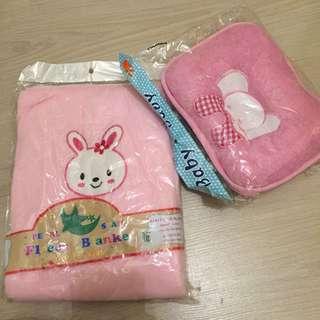 Baby fleece blanket and pillow
