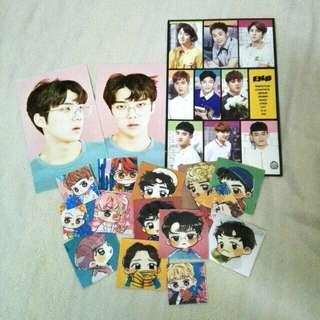 Exo stickers(exo fanart stickers) + photocard + postcard [exo set]