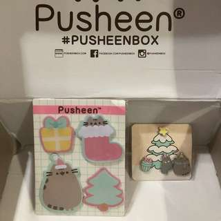 Pusheen Winter 2017 Holiday sticky notes & Outfit/Bag pins