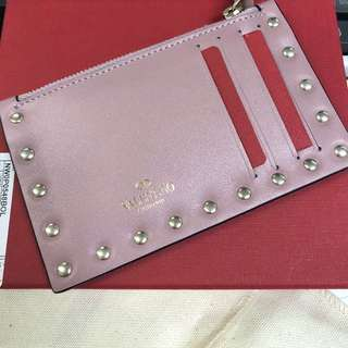 Valentino card holder 100%new full set有盒有塵袋