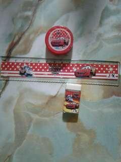 Ruler, sharpener and eraser