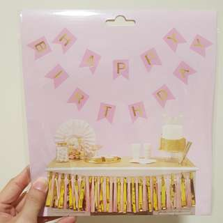 #huat50sale Happy Birthday Banner - Pink and Gold letterings