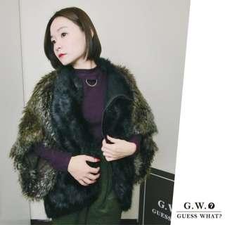 GW 【咖啡皮草】歐美混色大寬袖 短外套 短大衣 奢華 韓風 皮草 短外套 GUESSWHAT
