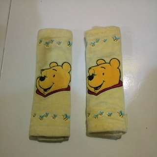 Pooh car head cusion and seat belt cover