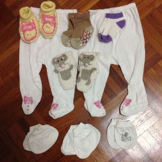 Girls 2 Pairs Footed Pants 0-3 Months, Socks And Booties 6 Pairs