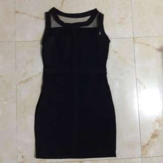 Black Dress Bodycon Slimfit FREE SIZE