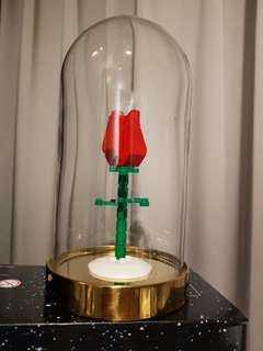 Lego rose + glass container