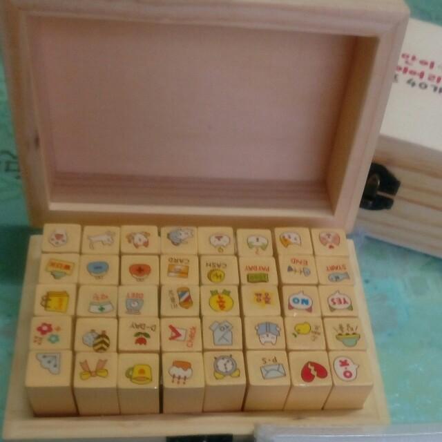 貓咪木盒印章(40入)+多彩漸變色印泥組