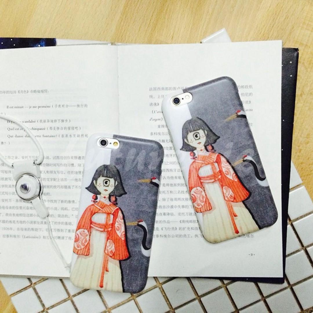 【預購】6+7+8+X/獨家/單眼/灰鶴/和服/全包/塑膠/軟殼/手機殼/iphone/i6/i7/i8/iX