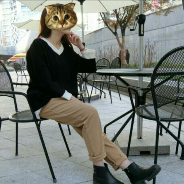✨正韓現貨🎉撞色針織寬版上衣(黑,粉橘)