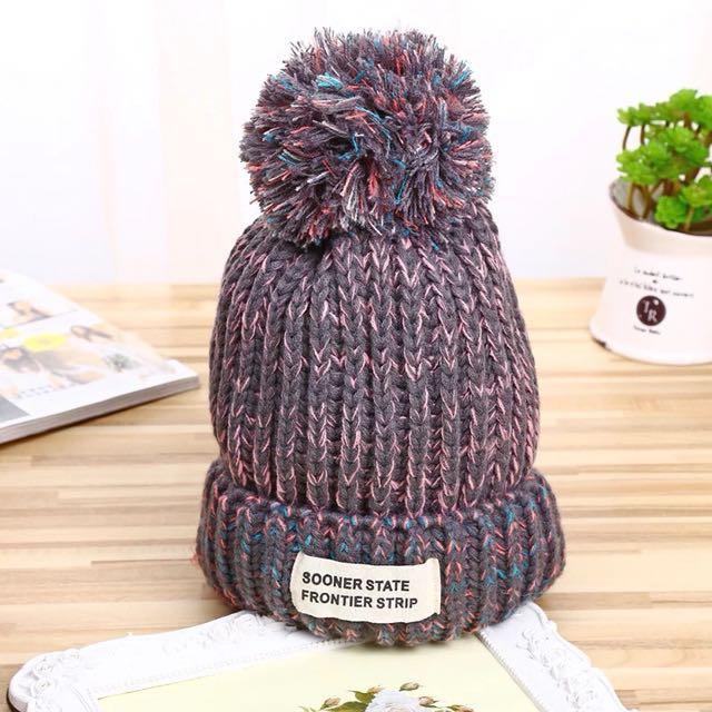 混色毛球針織內加絨毛帽