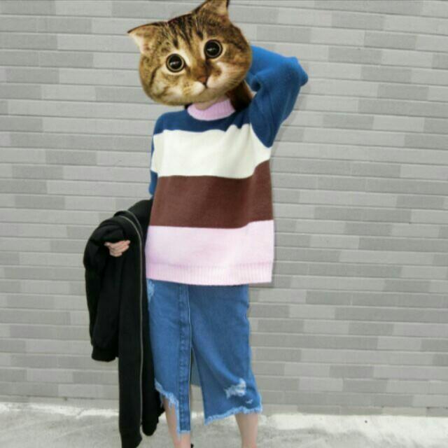 ✨正韓現貨🎉寬鬆繽紛條紋厚毛衣(粉領,藍領)