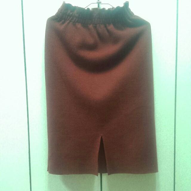 全新毛料磚紅色前開叉裙