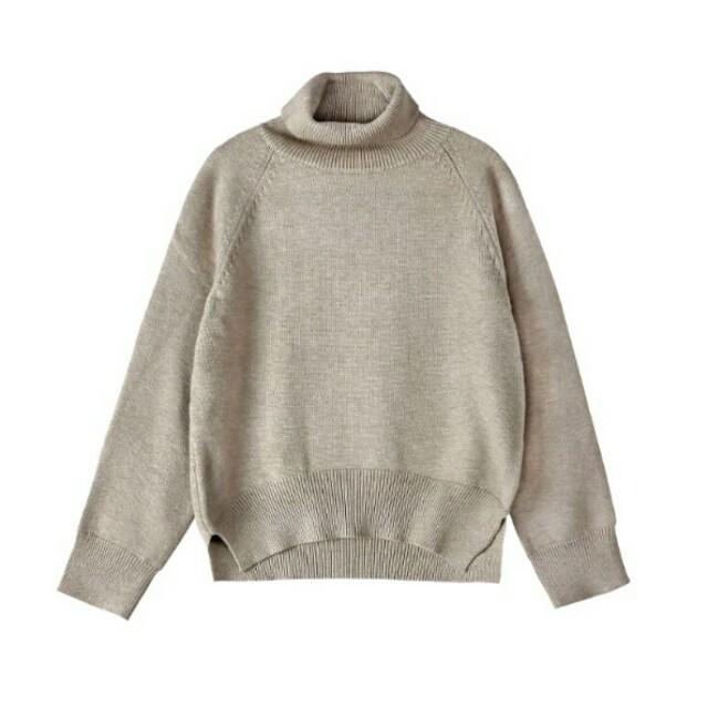 優雅杏色高領針織衫 寬鬆高領 慵懶 長袖 側邊開衩 米色 卡其色 韓版 毛衣