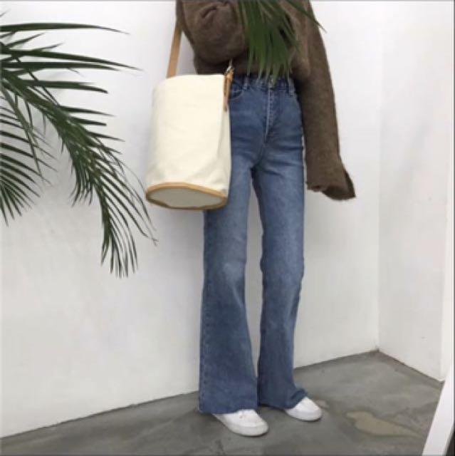 全新 復古藍拖地牛仔褲 m號
