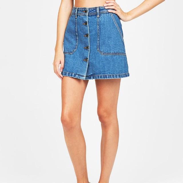 ♡ SUBTITLED Button Denim Mini Skirt in Indigo Blue - Size 8 ♡ RRP $70 BNWT