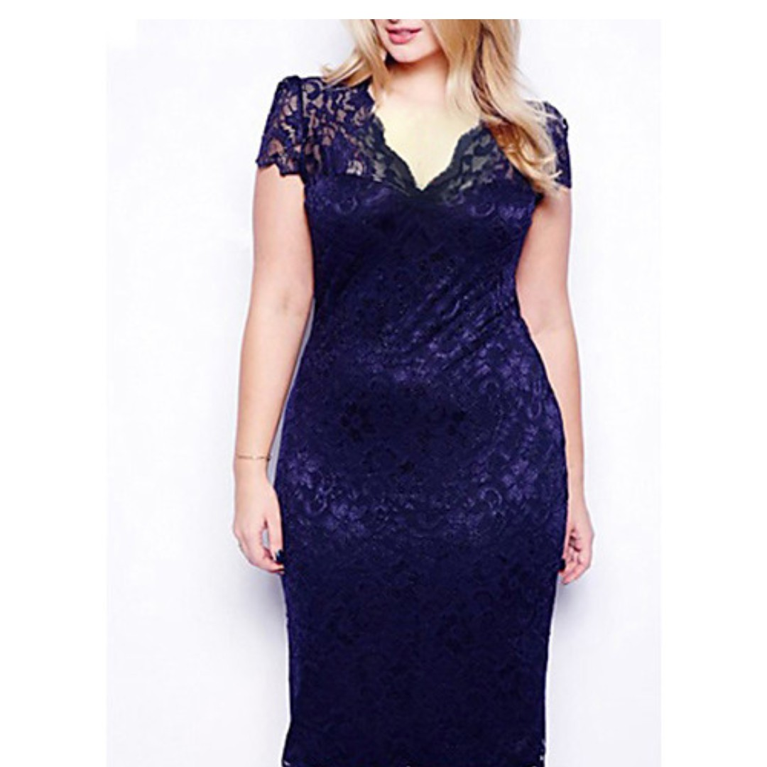 Above Knee Dress with Lace Sexy Bodycon Plus Sizes Purple