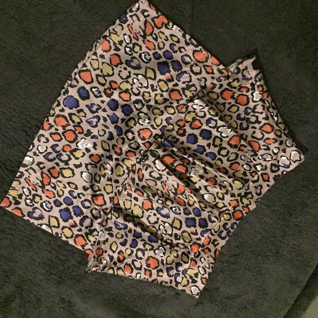 Animal print peplum skirt