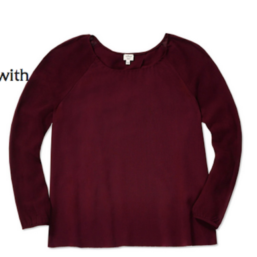 ARITZIA – WILFRED – BURGUNDY (CABERNET) GIVERNY BLOUSE (SIZE SMALL) PRELOVED