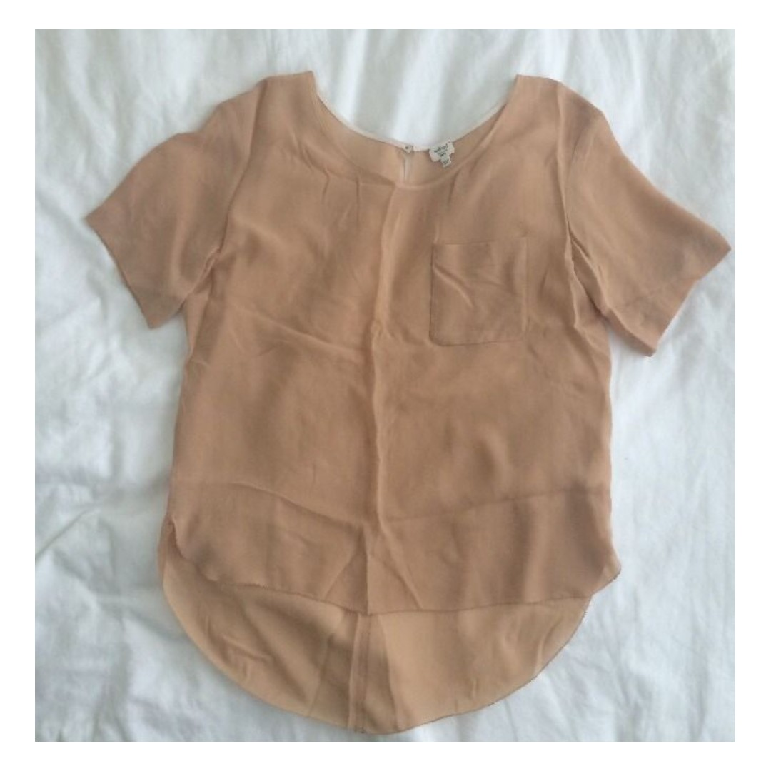 ARITZIA – WILFRED – NUDE MANUSCRIPT SILK BLOUSE (SMALL) WORN ONCE