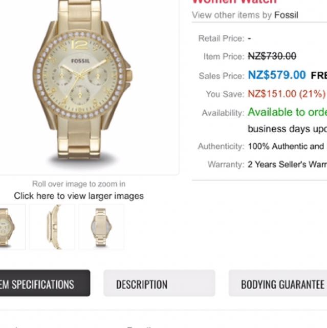 AUTHENTIC FOSSIL- Gold womens watch