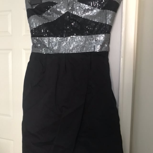 Black and silver top dress