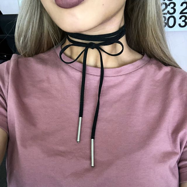 Black cord choker silver tie up bow