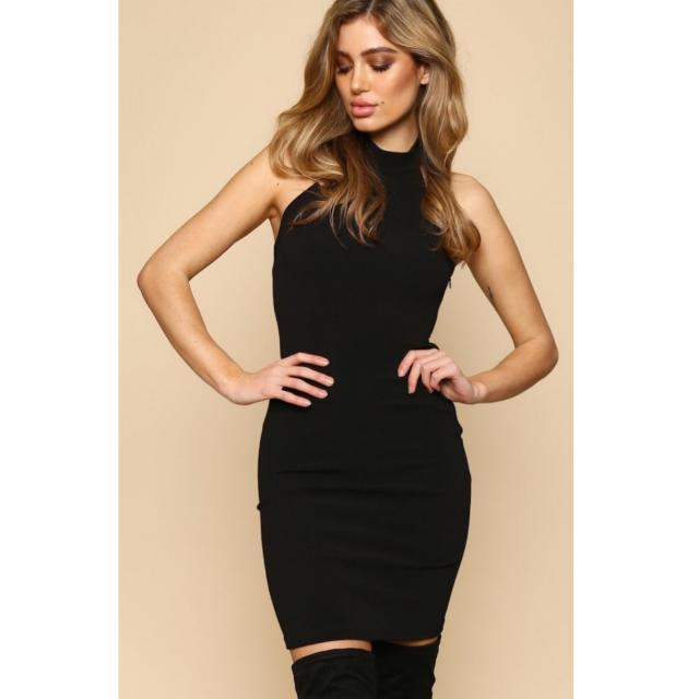 Black Halter High Neck Bodycon Dress