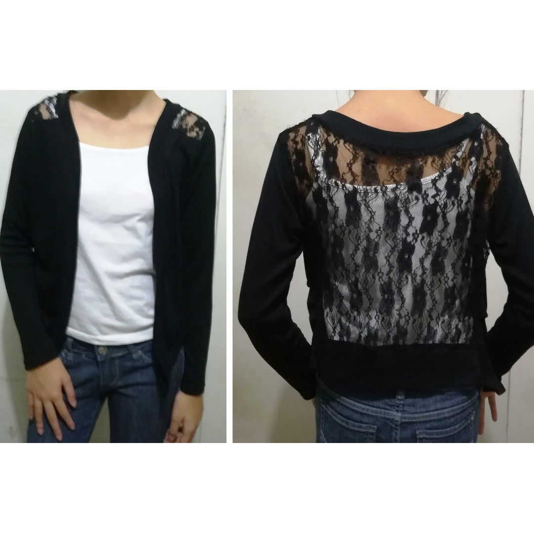 Black, long sleeved cardigan with see through lace back  (inner blouse not included)