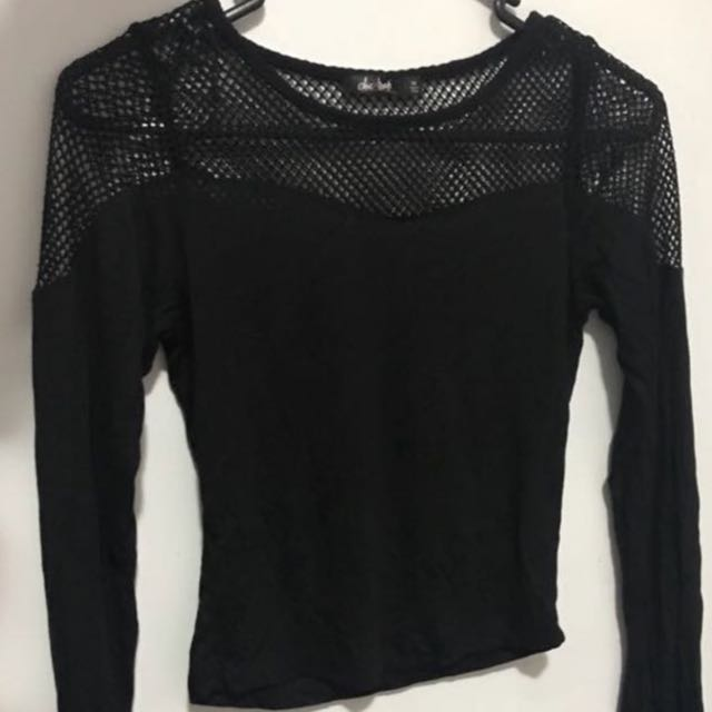 Black netted top