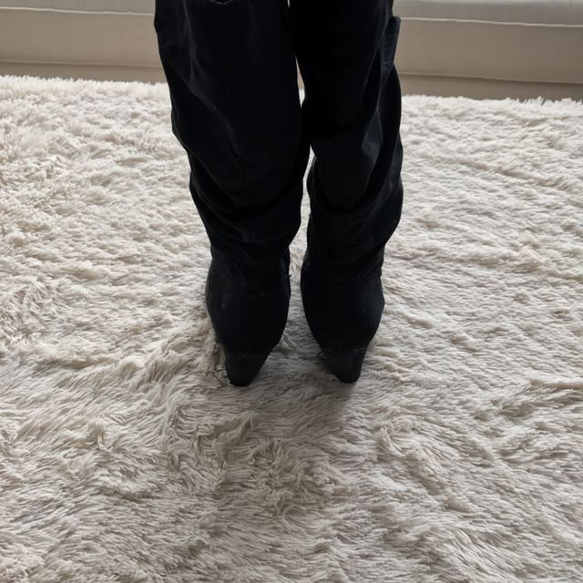 Black Wedge Knee High Boots