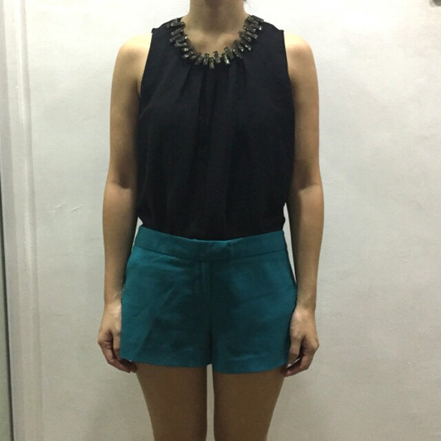 Candy Robinsons Dept Store Black sleeveless top with crystal neckline