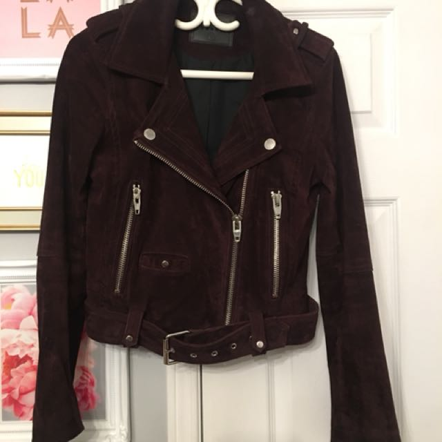 Blank NYC moto suede leather jacket purple wine burgundy