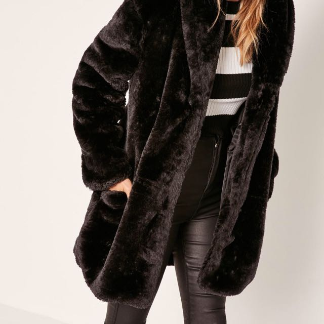 BNIP faux fur black coat / jacket