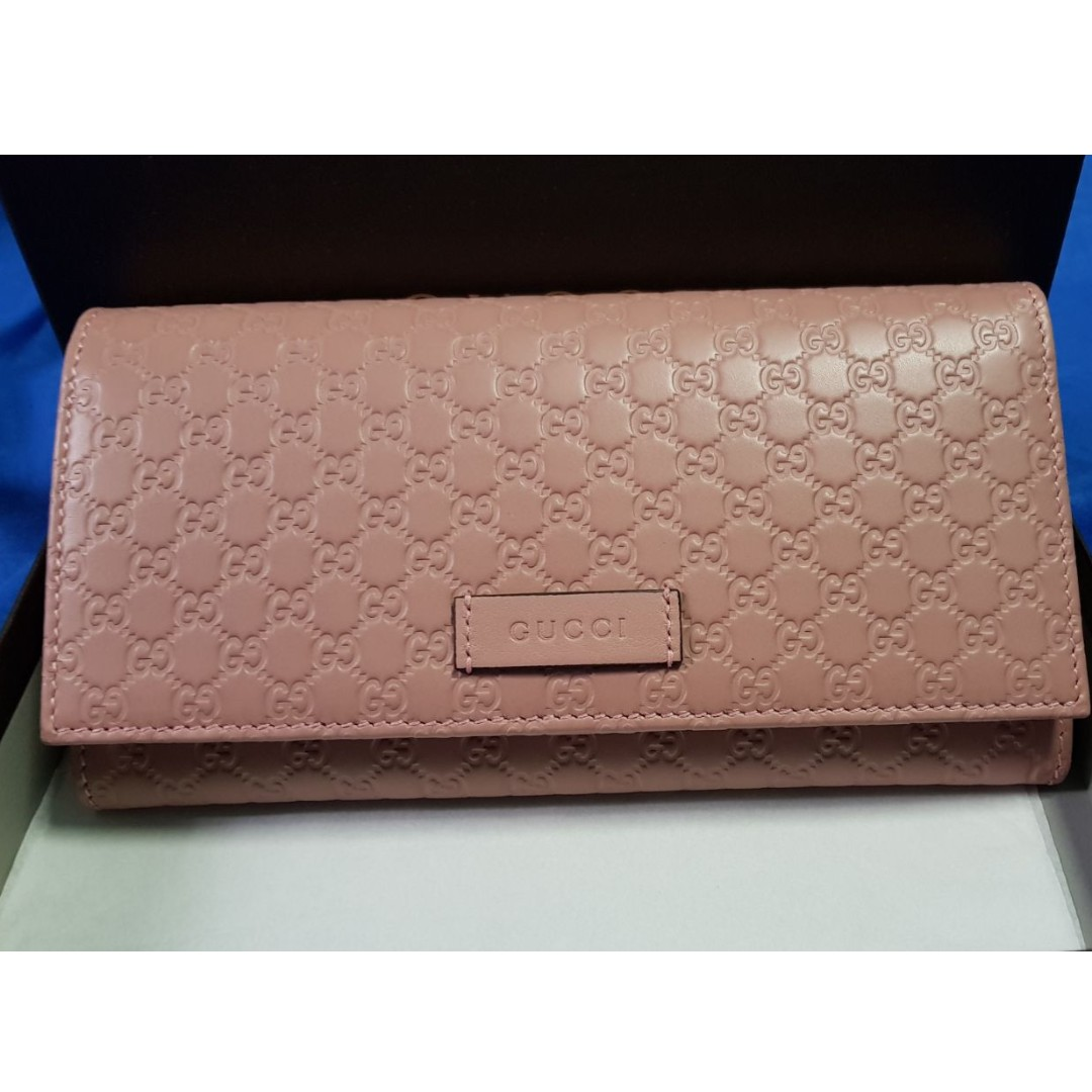 eae16cf8c16 Brand New Gucci Pink Leather Monogram long wallet