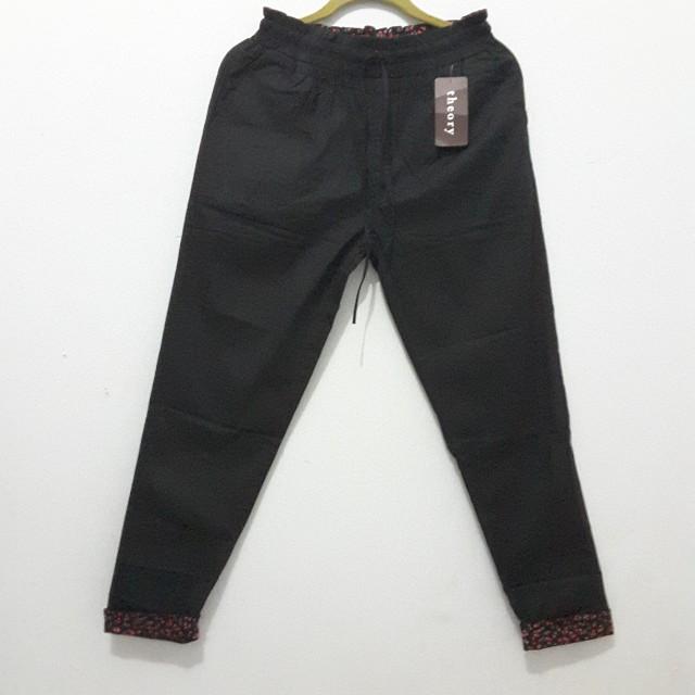 Cotton pants black motif kombinasi
