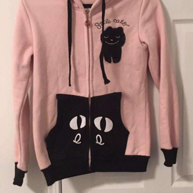 Cute kawaii pastel light pink kitty cat sweater