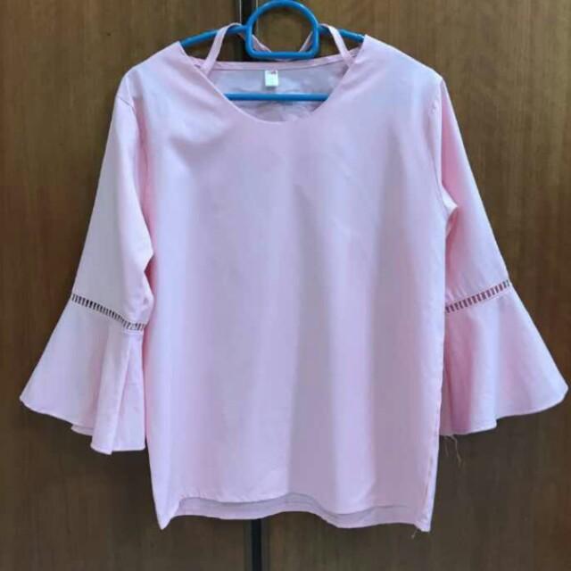 Cute pink bell sleeve top