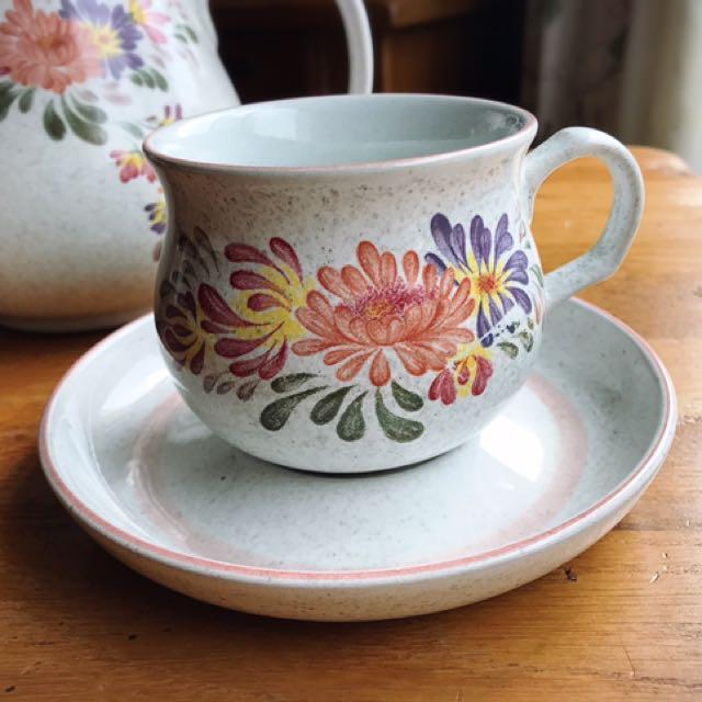 英國製Denby Summer Fields陶瓷花卉花茶/咖啡杯組