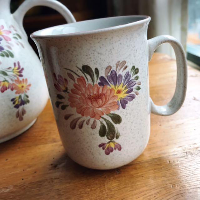 英國製Denby Summer Fields陶瓷花卉馬克杯