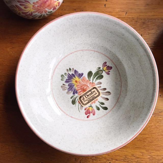 英國製Denby Summer Fields陶瓷花卉湯碗
