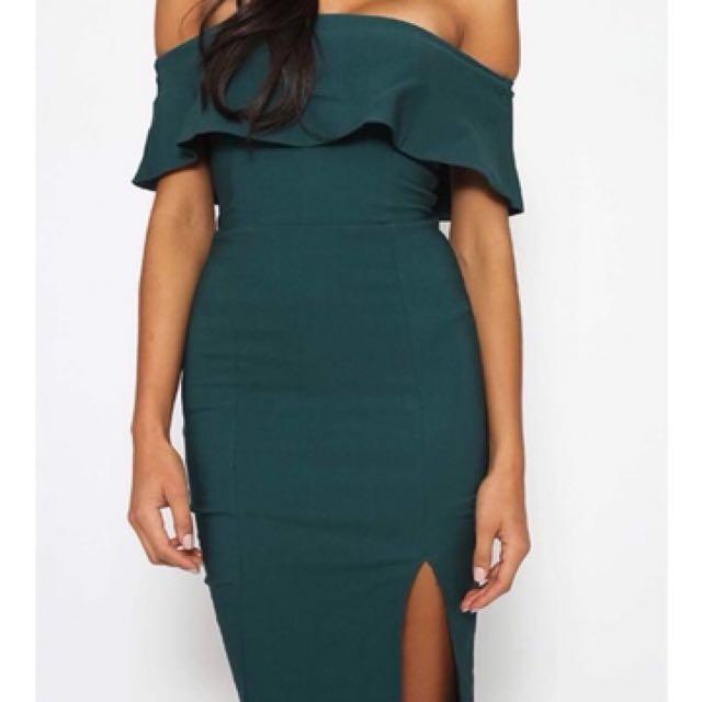 Emerald Bodycon off the Shoulder Dress