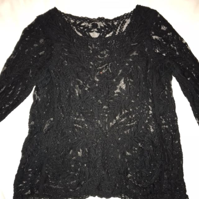 Express See Through Long Sleeve Shirt