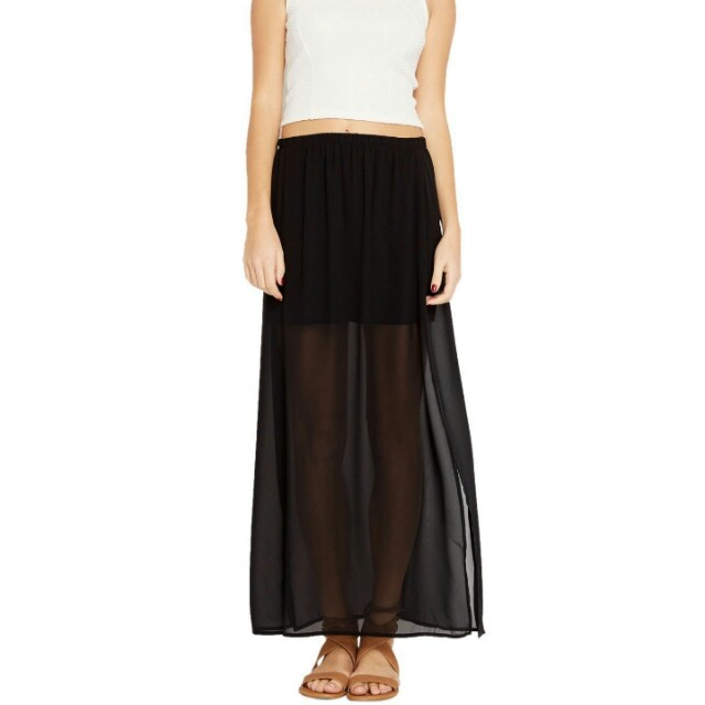 Forever 21 Semi-sheer Chiffon Maxi Skirt in Black, Womenu0027s Fashion,  Clothes, Dresses u0026 Skirts on Carousell