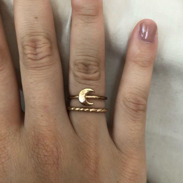 Gold thin band dainty rings, moon