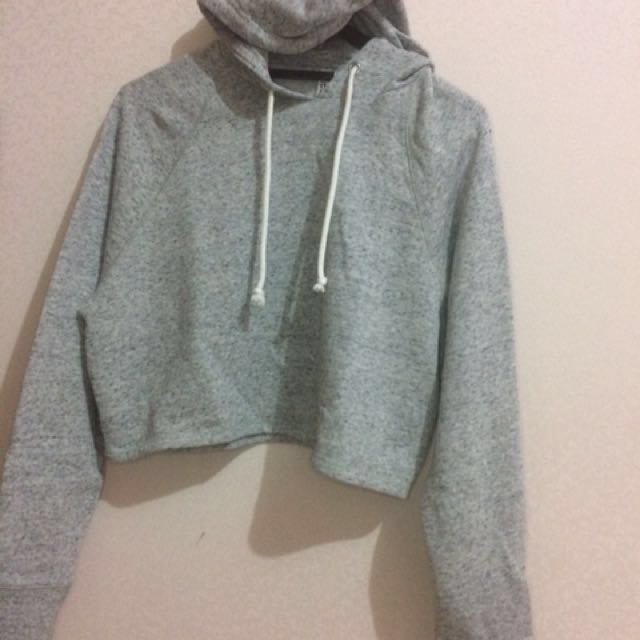 Grey H&M Crop Hooded Top